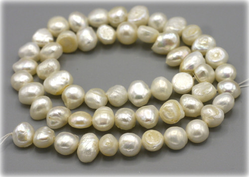 """15"""" Strand Approx 8mm Freshwater Pearl Flat-Sided Potato Beads, White"""