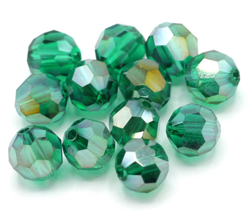 12pc 8mm Crystal Round Beads, Teal AB