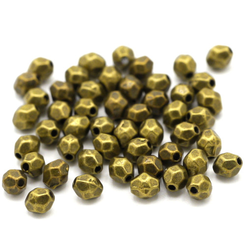 50pc 4mmx3.5mm Faceted Oval Spacer Beads, Antique Brass