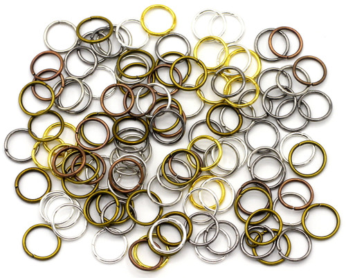 20 Grams 10mm Steel Jump Rings, 21-Gauge, Mixed Metal Finishes