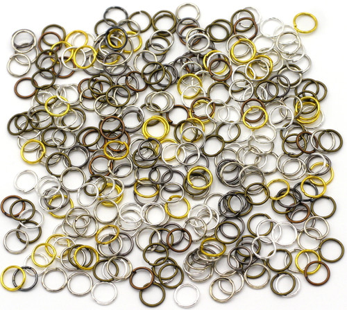 20 Grams 7mm Steel Jump Rings, 21-Gauge, Mixed Metal Finishes