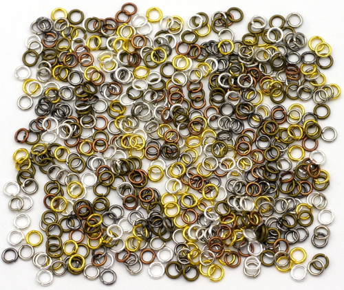 20 Grams 4mm Steel Jump Rings, 21-Gauge, Mixed Metal Finishes
