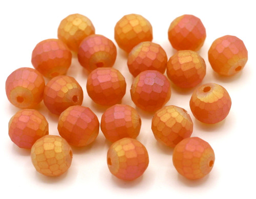 20pc 10mm Faceted Round Crystal Beads, Matte Magma AB
