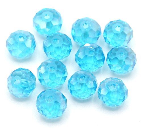 12pc 8x6mm Crystal Rondelle Beads, Aqua AB