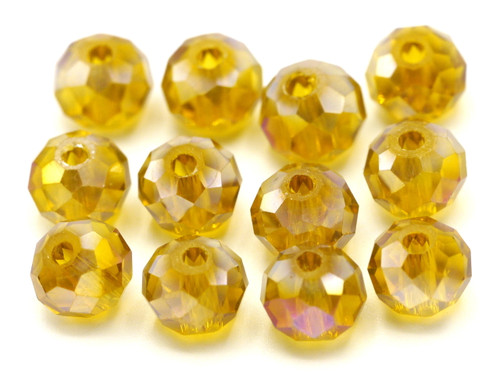 12pc 8x6mm Crystal Rondelle Beads, Topaz AB