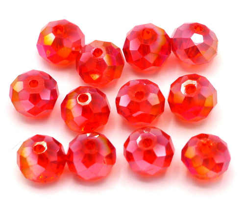 12pc 8x6mm Crystal Rondelle Beads, Ruby AB