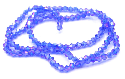 100+pc 4mm Crystal Bicone Beads, Medium Sapphire AB