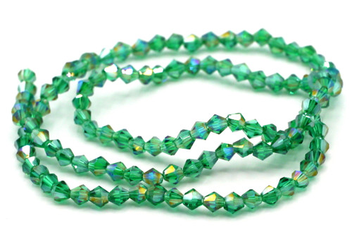 100+pc 4mm Crystal Bicone Beads, Teal AB