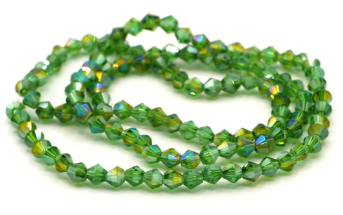 100+pc 4mm Crystal Bicone Beads, Fern AB