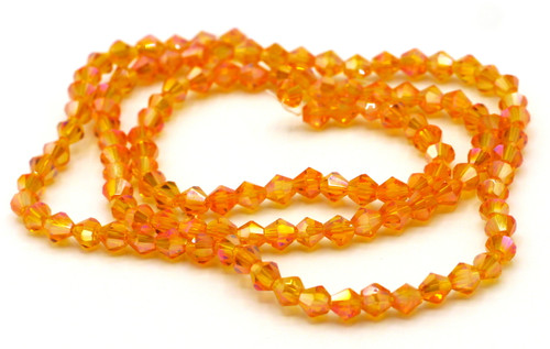 100+pc 4mm Crystal Bicone Beads, Tangerine AB