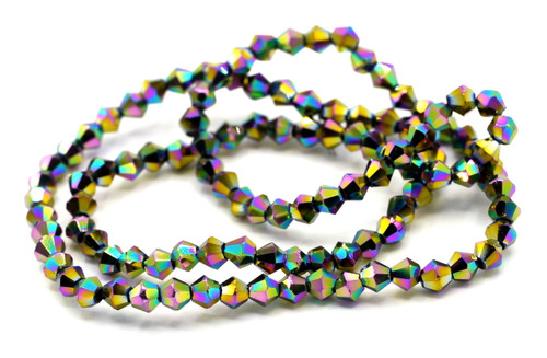 100+pc 4mm Crystal Bicone Beads, Metallic Rainbow Iris