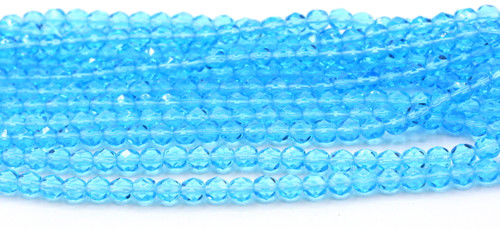 50pc 6mm Czech Fire Polished Round Beads, Medium Aqua