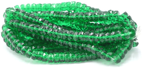 25pc 8mm Czech Fire Polished Faceted Disc Beads, Medium Green
