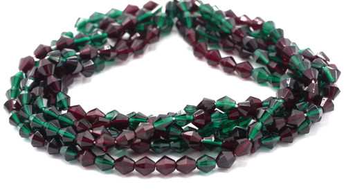 40pc 9mm Czech Fire Polished Bicone Bead, Emerald & Garnet Mix