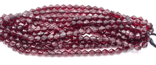 25pc 7mm Czech Fire Polished Glass Bicone Bead, Garnet