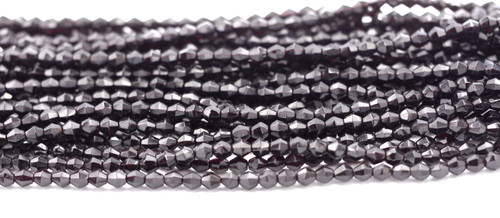 100pc 5mm Czech Fire Polished Glass Bicone Bead, Deep Garnet