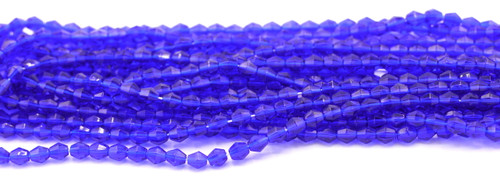 100pc 5mm Czech Fire Polished Glass Bicone Bead, Dark Sapphire