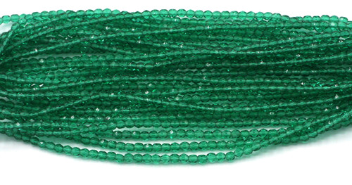 100pc 4mm Czech Fire Polished Glass Round Bead, Medium Emerald