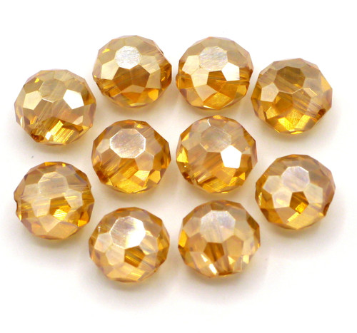 10pc 10x7mm Crystal Puffed Coin Beads, Peach Shimmer