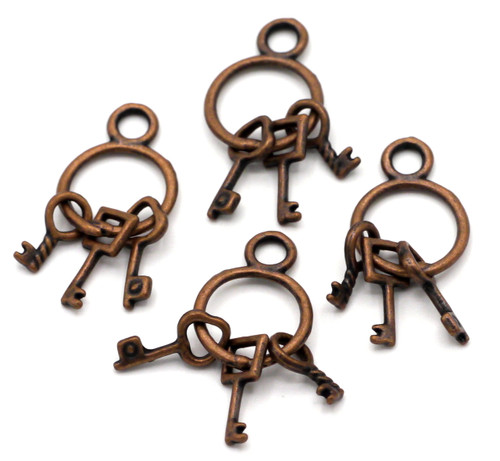 4pc 27x12mm Key Ring Charms, Antique Copper
