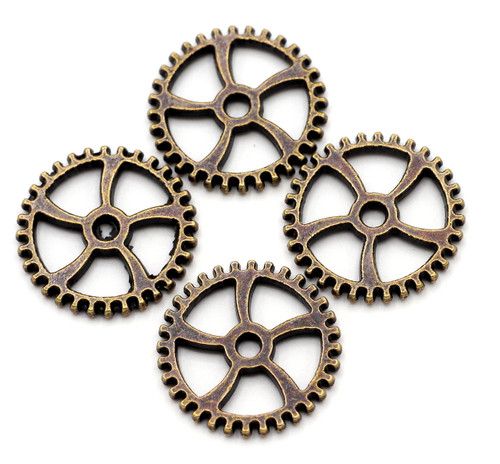 4pc 18mm Gear Findings, Antique Copper