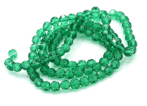 Approx 98pc 4mm Crystal Round Beads, Teal