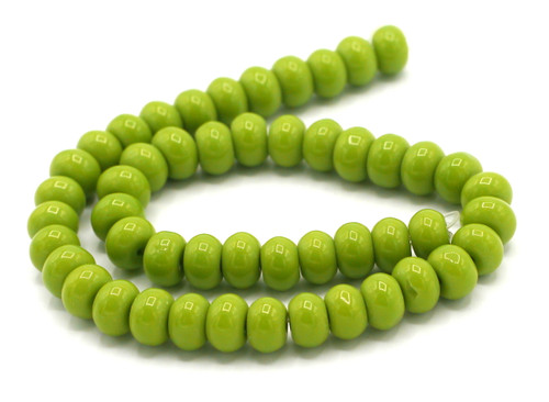"""10"""" Strand 8x6mm Opaque Glass Rondelle Beads, Bright Olive Green"""