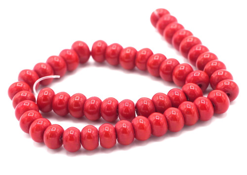 """10"""" Strand 8x6mm Opaque Glass Rondelle Beads, Cherry Red"""
