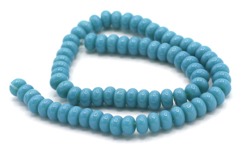 "10.5"" Strand 6x4mm Opaque Glass Rondelle Beads, Medium Blue"