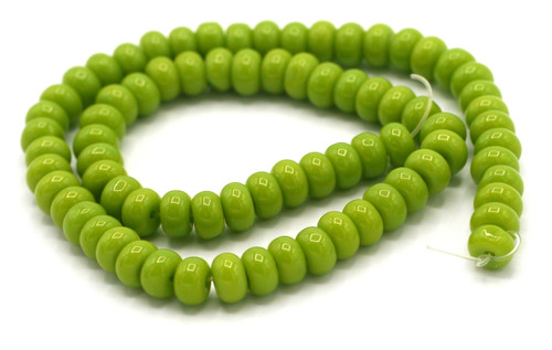 """10.5"""" Strand 6x4mm Opaque Glass Rondelle Beads, Bright Olive Green"""