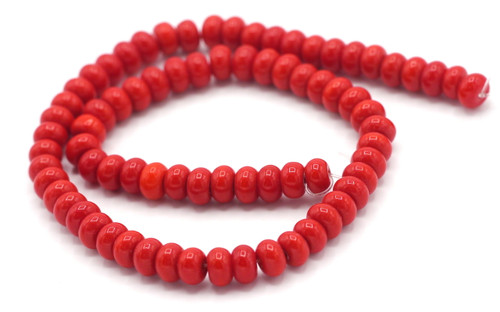 """10.5"""" Strand 6x4mm Opaque Glass Rondelle Beads, Cherry Red"""