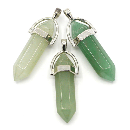 1pc Approx 40mm Green Aventurine Point Pendant