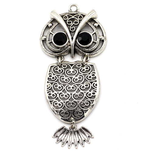 70mm Articulated Owl Pendant, Antique Silver