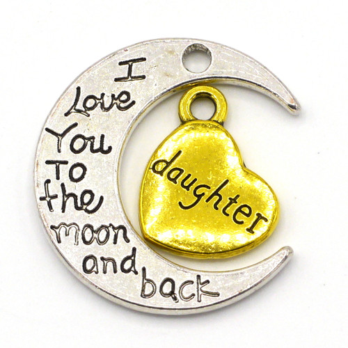"2pc Set: 15mm ""daughter"" Heart & 27mm ""I Love You To the moon and back"" Crescent Pendant Set"