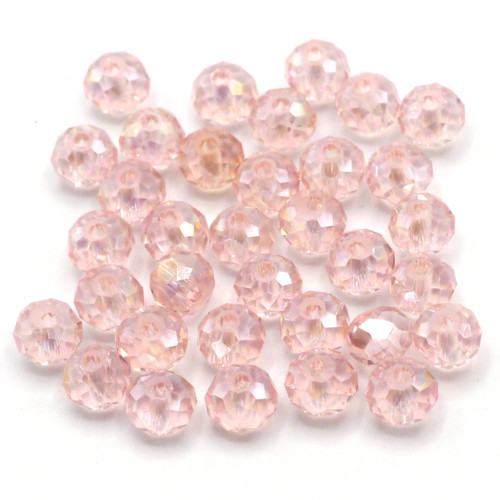 36pc 6x4mm Crystal Rondelle Beads, Light Rose