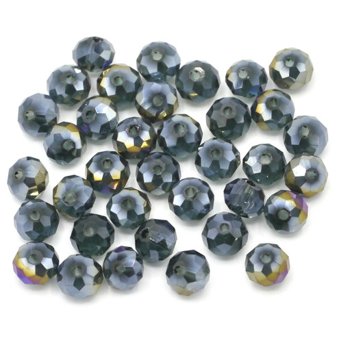 36pc 6x4mm Crystal Rondelle Beads, Dark Slate Blue AB