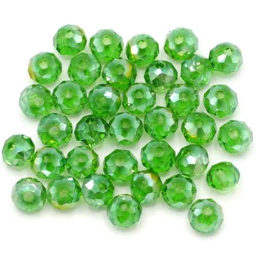 36pc 6x4mm Crystal Rondelle Beads, Green AB