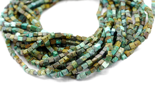 """15"""" Strand 4mm Turquoise Cube Beads"""