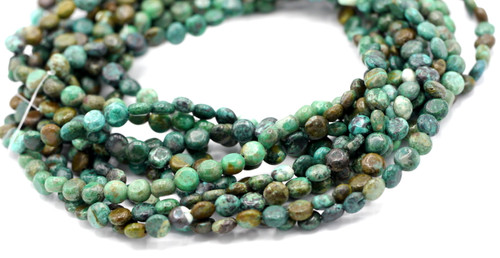 """15"""" Strand 6mm Turquoise Coin Beads"""