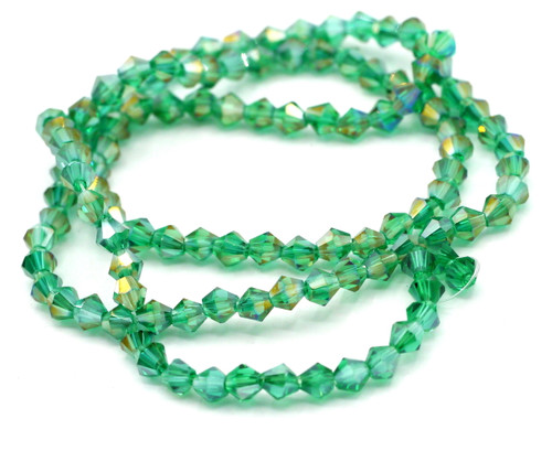 Approx 110pc Strand 4mm Crystal Bicone Beads, Teal AB