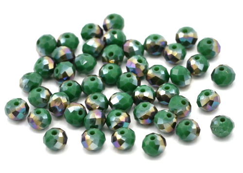 48pc 6x4mm Crystal Rondelle Beads, Emerald Green Metallic
