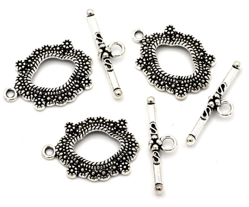 3 Sets 24x26mm Fancy Wavy Oval Toggle Clasps, Antique Silvertone