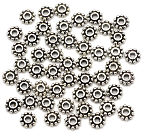 50pc 6.5mm Daisy Spacer Beads, Antique Silvertone