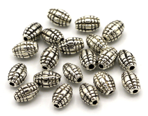 20pc 7x5mm Fluted Oval Spacer Beads, Antique Silver