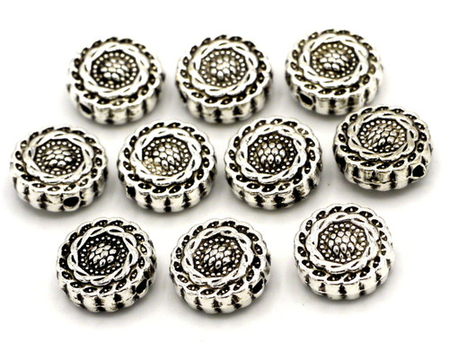 10pc 9.5mm Fancy Floral Flat Round Beads, Antique Silver