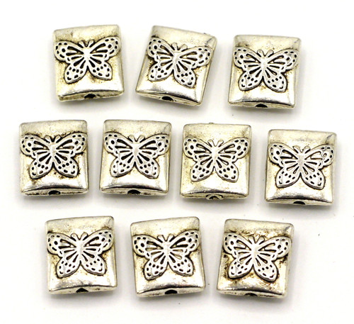 10pc 10x9mm Butterfly Rectangle Spacer Beads, Antique Silvertone