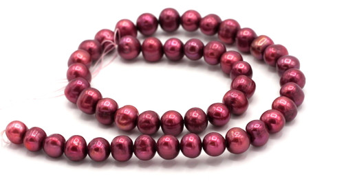 """15.5"""" Strand 9-10mm Freshwater Pearl Semi-Round Beads, Cranberry"""