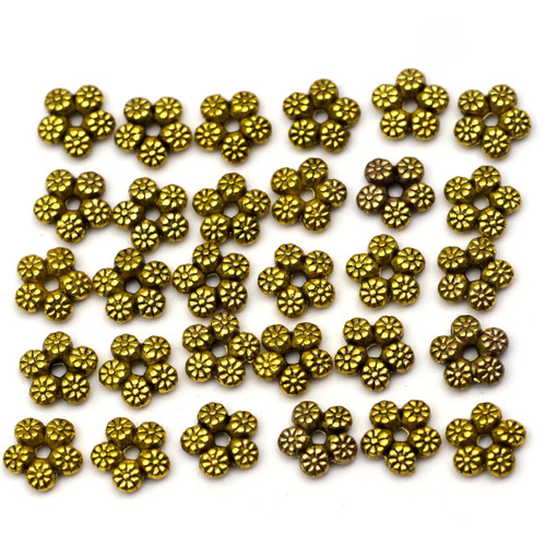 30pc 7mm Tribal-Textured Star Spacer Beads, Antique Goldtone