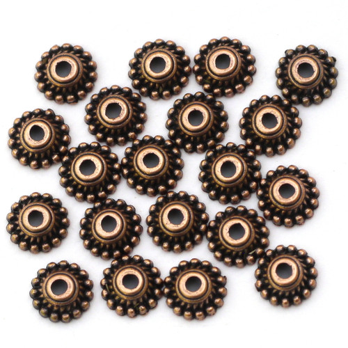 20pc 8mm Dotted Round Bead Caps, Antique Copper