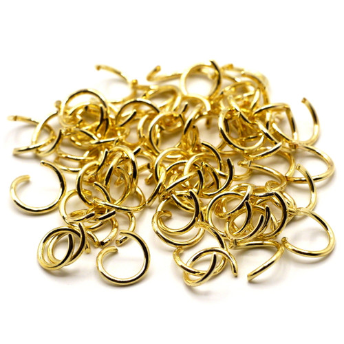 10-Gram Bag of 18 Gauge 8mm Open Jump Rings, Gold Finish